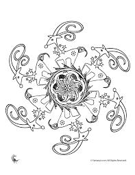 reindeer and flower mandala coloring page