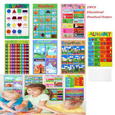 Interactive Charts For Preschool 10pcs Educational Preschool Posters Charts For Preschoolers Toddlers Kids Kindergarten Classrooms Includes Alphabet Letters Colors Days Of The Week