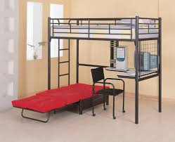 scarce bunk bed with futon and desk furniture boys black grey metal on wooden