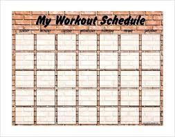 Weekly Blank Exercise Schedule Template Free Workout Chart
