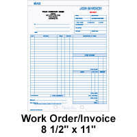 Work Order Forms Carbonless Side Stub Padded Material And Labor