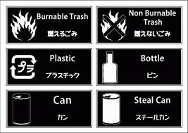 ゴミ分別白黒ラベル英文字があるのでオシャレ無料のテンプレート