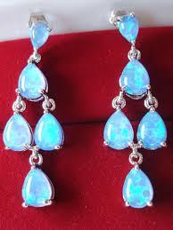 marked 925 solid sterling silver chandelier dangle earrings with 5 teardrop australian fire opal solid cabochons