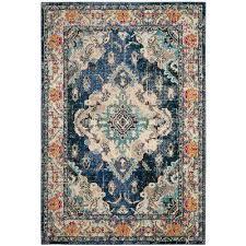 monaco navy light blue 4 ft x 6 ft area rug