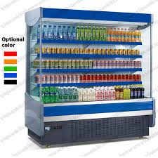 open refrigerator. supermarket front open display refrigerator with air curtain