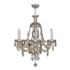 worldwide lighting provence collection 7 light chrome and golden teak crystal chandelier
