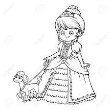 プードルのプリンセス子供用漫画のキャラクターの塗り絵