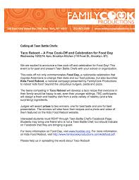 food day stephanie brooks this announcement letter was sent to teen battle chef coordinators at high schools across nyc
