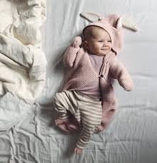 cute baby wearing oeuf baby clothes