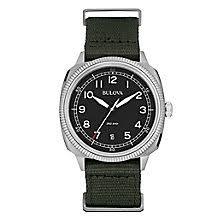 bulova watches designer watches ernest jones bulova military men s stainless steel black strap watch product number 3542467