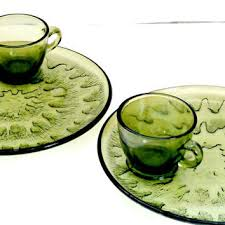 set of two vintage tea and toast platters snack sets retro antique green glass teacup and