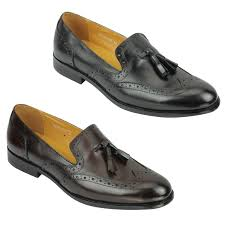details about mens 1920s vintage real leather tassel loafers slip on brogue shoes brown black