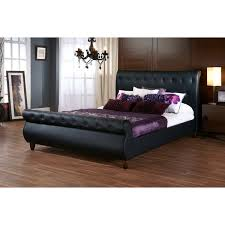 black upholstered sleigh bed. Baxton Studio Ashenhurst Black Modern Sleigh Bed With Upholstered Headboard - Queen Size A