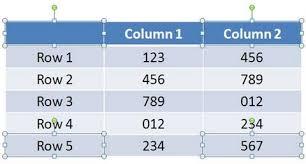 select table corners