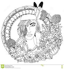 Coloring Pages Vector Illustration Native American Girl Round