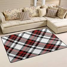funnylife white tartan plaid printed carpet for living room bedroom floor mats kitchen rugs doormat red and black stripes