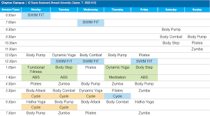 group fitness timetable clayton cus