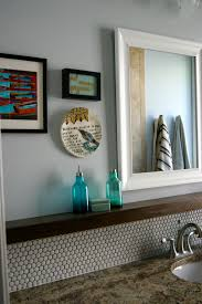 diy penny tile backsplash floating shelf by madeline from create bake celebrate