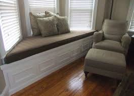 Padded Benches Living Room Interior Living Room Interesting White Wooden Bay Window Seat With