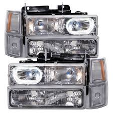 chevy truck headlights 94 98 chevy truck euro chrome halo w xenons headlights headlamps 8pc set 1500