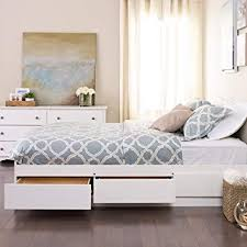 White Queen Mate\u0027s Platform Storage Bed with 6 Drawers Amazon.com: