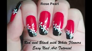 Red And White Nail Designs Red And Black With White Flowers Nail Art Tutorial Easy Diy Nail Art Design
