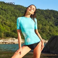 <b>Charmo Women Short Sleeve</b> Rashguard Swimwear Floral Print ...