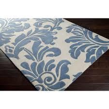 belle flourish slate blue area rug