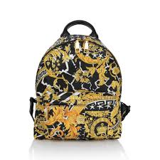 Yellow Designer Backpack Young Versace Black Gold Baroque Logo Backpack Versace