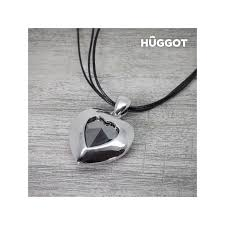 hûggot ocean s heart gold plated pendant with zircons and leather cord created with swarovski