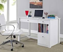 Home Office Desk White With Sleek And Modern Design That Equipped Bookcase  Etra Storage Drawers For