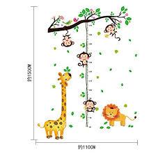 Plantoys Jungle Height Chart Bibitime Cartoon Forest Flower Tree Birds Lion Giraffe 4