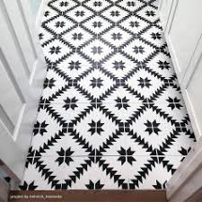 black and white tile floor. 1-Painted-stenciled-floor-tile-stencils-black-white Black And White Tile Floor