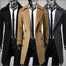 2018 whole male pea coat jacket double ted trenchcoat men winter peacoat long trench coat mens overcoat black khaki grey from hongyeli