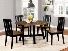 5 pc alana transitional style antique oak and black finish wood base round dining table set