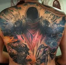 тату архангел тираэль воин демон на спину голову руку в тематике