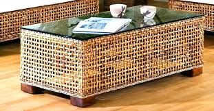 round wicker table basket end tables rattan living room rectangular coffee with glass top and chairs round wicker table