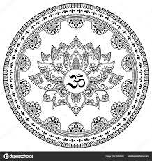 круговой узор виде мандалы цветком лотоса хны менди тату украшения