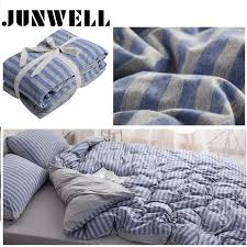 3pcs set duvet cover set 100 yarn dyed cotton jersey quilt cover anese style stripe