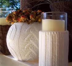 ... Knits And Handmade Crafts In White Colors For Winter Decorating With  Dries Flowers And Candles Centerpieces ...