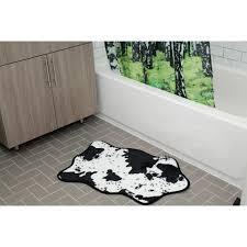 cowhide bath rug black white