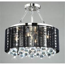 black drum chandelier with crystal also chrome finish for elegant home interior design