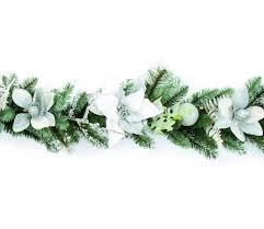 Poinsettia Christmas Tree Lights Uk Premier Pre Lit White And Silver Poinsettia Garland