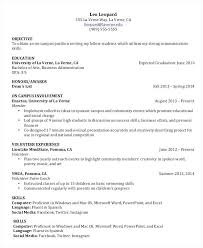 Undergraduate College Resume Template Objective For A College