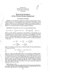 pdf numerical solution of the navier stokes equations
