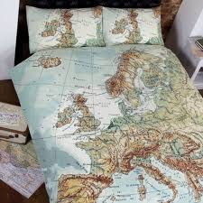 globe map vintage double duvet set