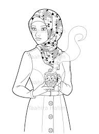 Islamic Coloring Page Featuring A Cute Hijabi Muslim Girl You Can