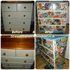 Marvel Bedroom Upcycled Chest Of Drawers Marvel Decoupage All Things Thrifty