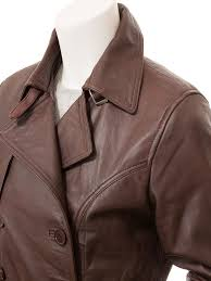 women s brown leather trench coat columbia side