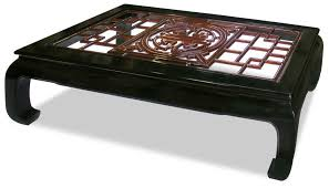 square shaped asian coffee table rosewood furniture dragon chinese motifs with tempered glass surface